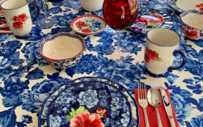 Red, White, And Blue Floral Tablescape