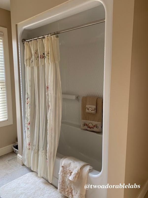 Silk floral shower curtain