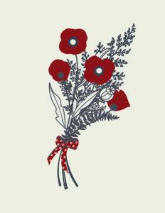 Floral Postcard With Paw Print Ribbon