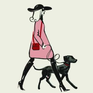 Lady and Dog Postcard