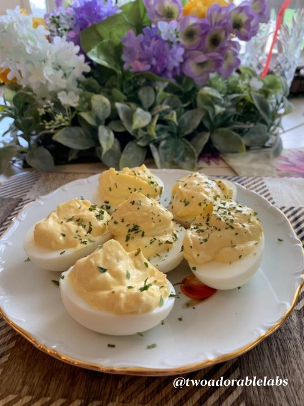 Fido's Deviled Eggs | www.twoadorablelabs.com