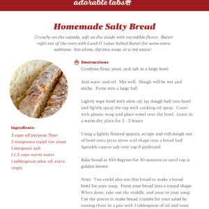 Homemade Salty Bread Recipe Card