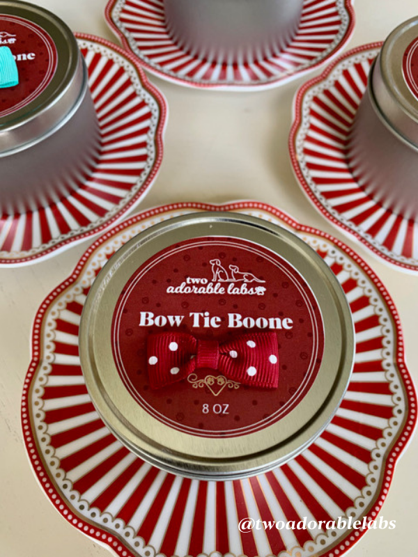 Bow Tie Boone Candle   www.twoadorablelabs.com