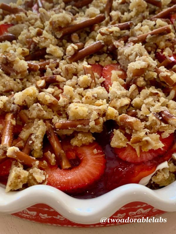 Strawberry Pretzel Pie | www.twoadorablelabs.com